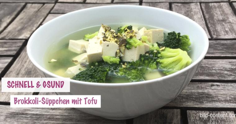 Brokkoli Suppe mit Tofu und Kürbiskernen
