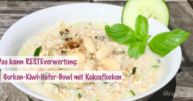 Resteverwertung: Gurken-Kiwi-Haferflocken Bowl