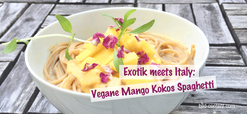 Vegane Spaghetti; Kochen für Anfänger; Kokos Mango Sauce