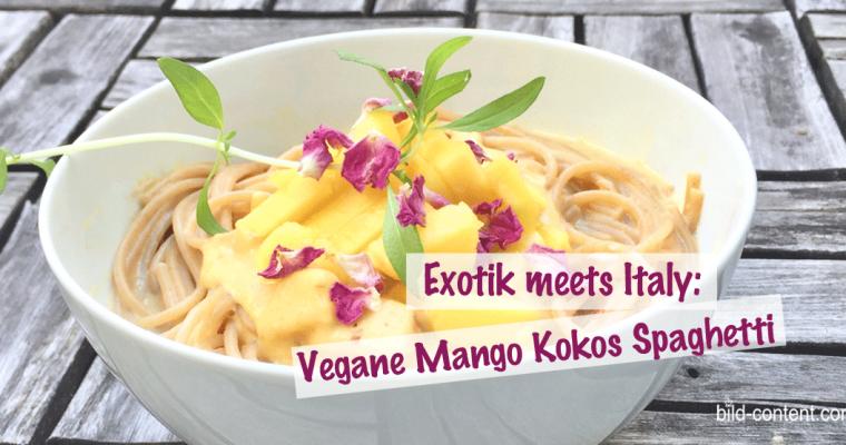 Vegane Spaghetti mit Mango-Kokos-Sauce