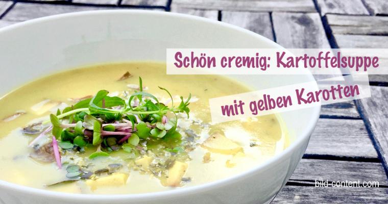 Vegane Süßkartoffel Suppe mit gelben Karotten
