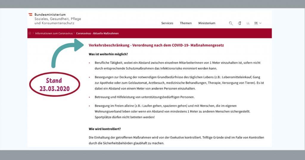 Verkehrsbeschränkung - Verordnung nach dem COVID-19- Maßnahmengesetz in Österreich / Stand 23.3.2020