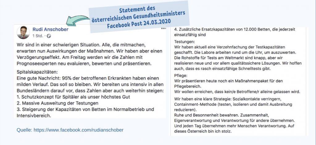 Statement des österreichischen Gesundheitsministers Facebook Post 24.03.2020