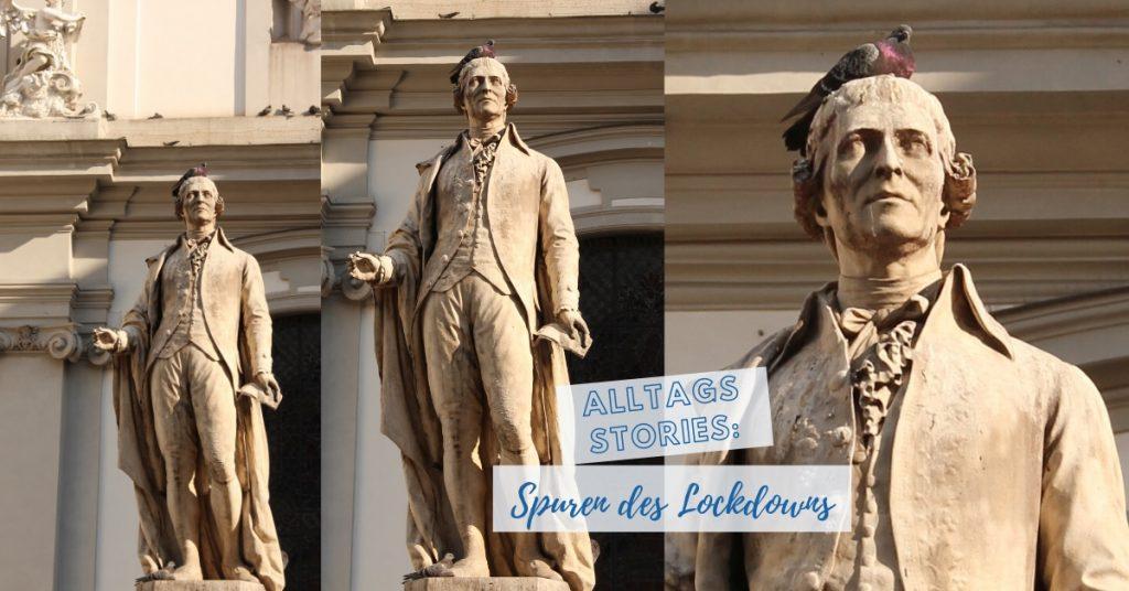 Taube am Kopf des Haydn Denkmals auf der Mariahilferstrasse in Wien ©Astrid Eishofer©Astrid Eishofer