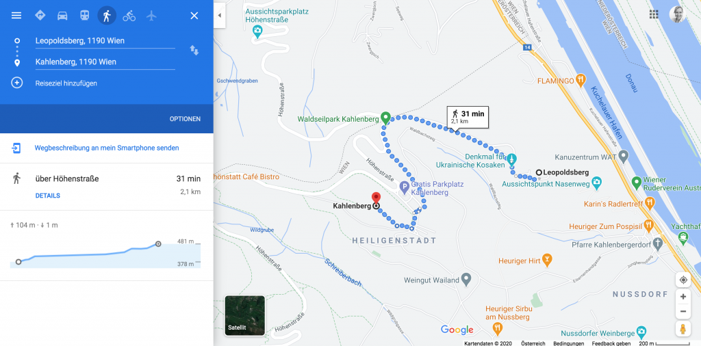 Route Leopoldsberg - Kahlenberg ©google maps