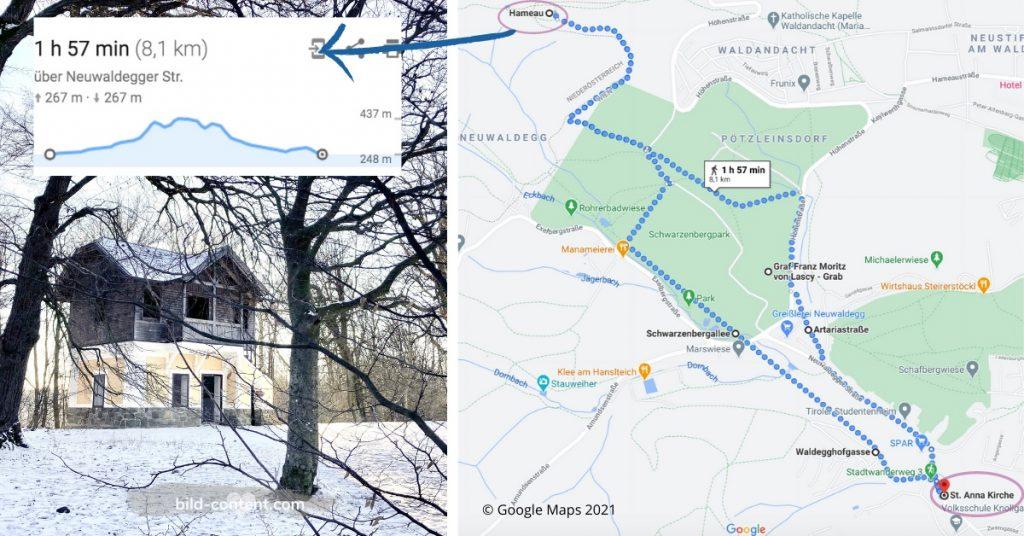 Wander Route zum Hameau im Wienerwald, Schwarzenbergpark, Schwarzenbergallee