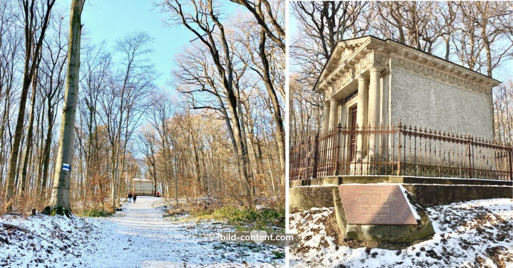 Das Grab von Graf Franz Moritz von Lacy - eine kleine Kapelle mitten im Wald, die wie ein griechischer Tempel aussieht.